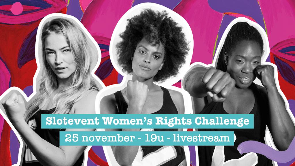 Drie ambassadeurs van de Women's Rights Challenge van ActionAid. Tekst: Slotevent Women's Rights Challenge. 25 november - 19u - livestream